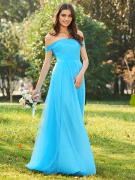 Off-the-Shoulder A-Line Bridesmaid Dress