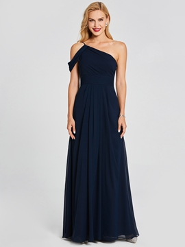 One Shoulder A Line Chiffon Blue Bridesmaid Dress