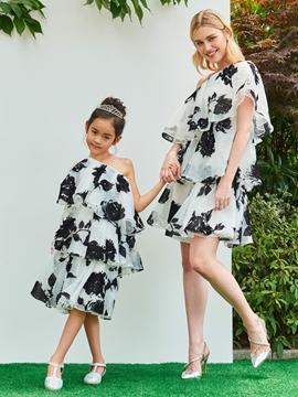 One Shoulder A Line Knee Length Flower Girl Party Dress