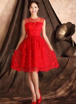 Pretty A-Line Jewel Lace Short Charming Bridesmaid Dress