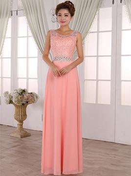 Pretty A-Line Scoop Lace Long Bridesmaid Dress