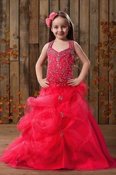 Pretty Ball Gown Halter Floor-Length Sequins Flower Girl Dress