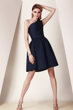 Pretty Pleats A-Line One-Shoulder Knee-Length Dasha's Bridesmaid Dress