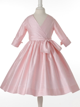 Pretty V-neck A-line 3-4-Length Sleeves Bowknot Flower Girl Dress