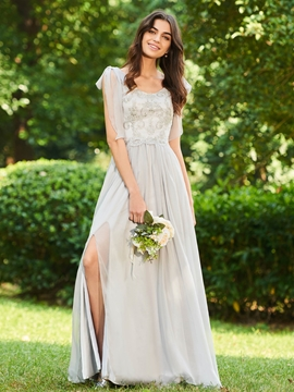 Scoop A Line Beaded Long Bridesmaid Dress