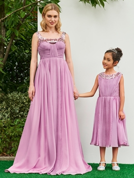Scoop A Line Tea Length Sequins Flower Girl Party Dress
