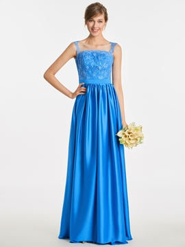 Scoop Appliques A Line Long Bridesmaid Dress