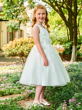 31892489c46 Scoop Appliques Ball Gown Tea Length Flower Girl Dress