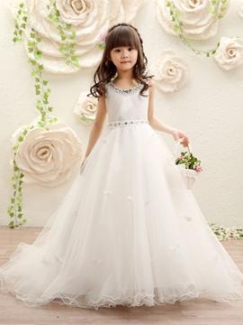 Scoop Ball Gown Beaded Tulle Flower Girl Dress