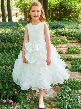 Scoop Ball Gown Bowknot Tea Length Flower Girl Dress
