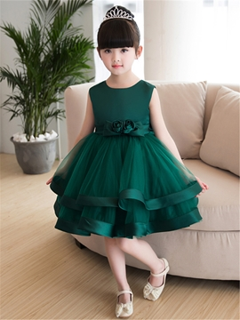 Scoop Ball Gown Knee Length Flower Girl Party Dress