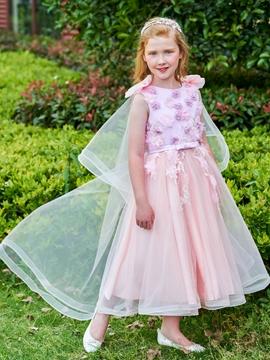 Scoop Flowers Ankle Length Flower Girl Dress