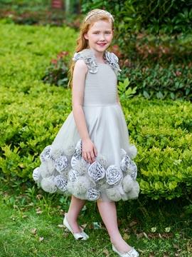 Scoop Flowers Knee Length Flower Girl Dress