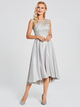 Scoop High Low A Line Lace Bridesmaid Dress