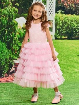 Sequins Ball Gown Tea Length Flower Girl Party Dress