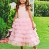 Sequins Ball Gown Tea Length Flower Girl Party Dress