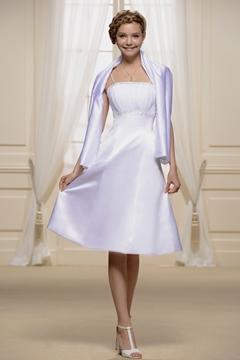 Spaghetti Strap Shirred Empire Short Bridesmaid Dress With Jacket-Shawl