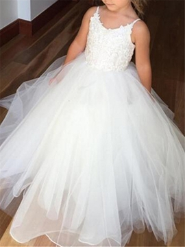 Spaghetti Straps Appliques Ball Gown Tulle Flower Girl Dress