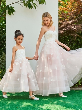 Spaghetti Straps Ball Gown Ankle Length Flower Girl Party Dress