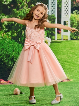 453aa9fc539 Spaghetti Straps Ball Gown Tea Length Flower Girl Party Dress