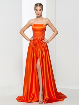 Strapless Appliques Split-Front Prom Dress