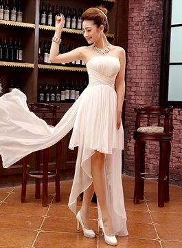 Strapless Lace Up Asymmetry Bridesmaid Dress