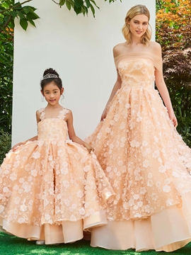 Straps Lace A Line Ankle Length Flower Girl Party Dress