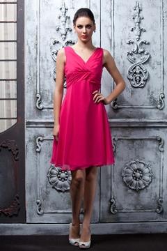 Stunning A-Line Knee-Length V-Neck Bridesmaid Dress