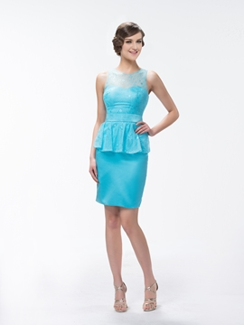 Superior Sheath-Column Lace Knee-Length Bridesmaid Dress
