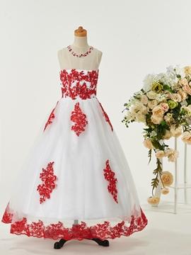 Sweet Jewel Appliques Flower Girl Party Dress