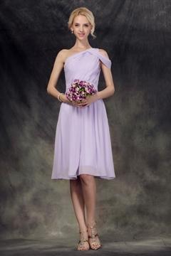 Terrific Pleats A-Line One-Shoulder Knee-Length Bridesmaid Dress