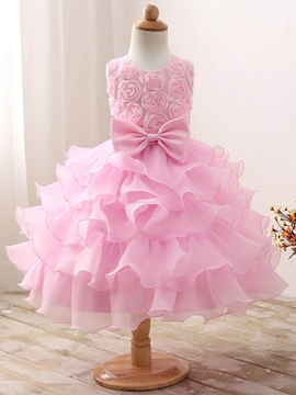 Tiered Pleats Tulle 3D Flowers Bowknot Flower Girl Dress