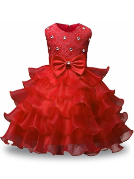 Tiered Ruffles Tulle Lace Scoop Flower Girl Dress