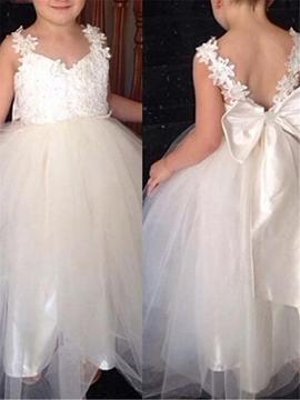 Tulle Applique Straps Bowknot Flower Girl Dress
