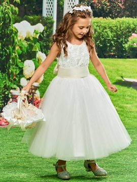 Tulle Ball Gown Tea length Flower Girl Dress