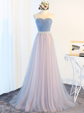 Tulle Sleeveless Sweetheart Wedding Bridesmaid Dress