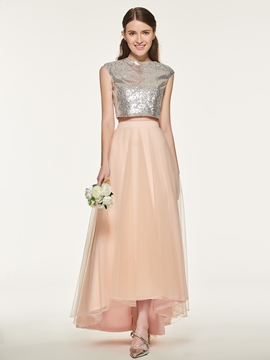 Tulle Two Pieces Asymmetry Bridesmaid Dress