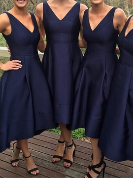 V Neck A Line High Low Bridesmaid Dress