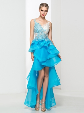 V-Neck Appliques Beading Asymmetry Prom Dress