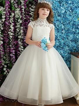 Vintage High Neck Cap Sleeves Floor Length Flower Girl Dress