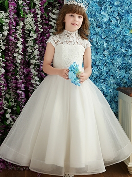 Vintage High Neck Cap Sleeves Floor Length Flower Girl Dress