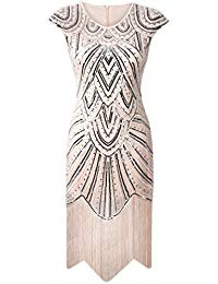 1920s Flapper Dress Crystal Sequin Embellished Fringed Gatsby Dress