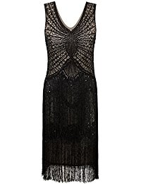 1920s Style Inspired Charleston Sequin Layer Tassel Cocktail Flapper Dress