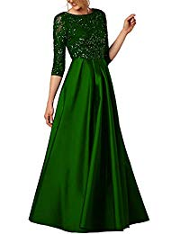 3-4 Long Sleeves Beaded Prom Evening Party Dress Pocket Formal68