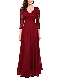 3-4 Sleeve Top Lace See-Through Back Wedding Maxi Bridesmaid Dress