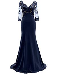 3-4 Sleeves Illusion Lace Evening Gown V Neck Mother of The Bride Dress