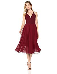Alicia Plunging Mix Media Sleeveless Fit and Flare Midi