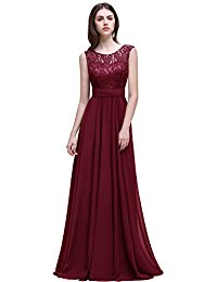 Babyonline Sleeveless Lace Chiffon Long Evening Gowns Bridesmaid Dress