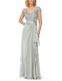 Caps V-Neck Chiffon Pleated Lace Appliques Mother of The Bride Dress Floor Length Formal Gowns