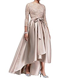 Champagne Hi-Low 3-4 Sleeve Formal Evening Party Dresses